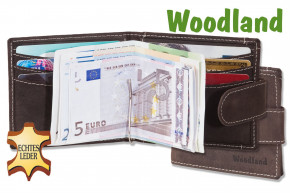 Woodland® Flat wallet with money clip made from fine untreated buff in dark-brown/taupe