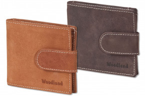 Woodland® - Flat wallet with money clip made from fine untreated buff leather in cognac