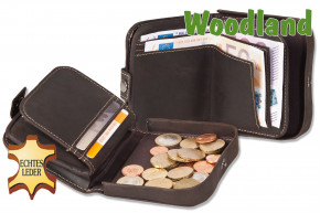 Woodland® Shake-Wallet made from soft, natural buffalo leather in dark-brown/taupe