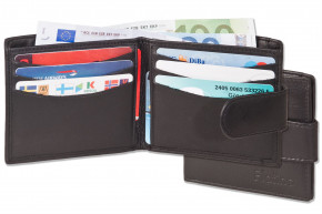 Platino -  Super Flat Wallet with outer coin pocket from the finest leather with TOP quality in blac