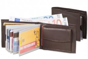 Rimbaldi® Mini-Geldbörse mit 8 Klarsicht-Kreditkartenfächern uns Super-Coin Hartgeldfach aus Rind-Nappaleder in Dunkelbraun