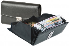 Rinaldo® Cheap waiter wallet with reinforced bottom in large coin compartment made of smooth cow leather in black