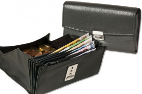 Rimbaldi®- Cheap waiter wallet with reinforced bottom in large coin compartment made of soft, natural buffalo leather in black