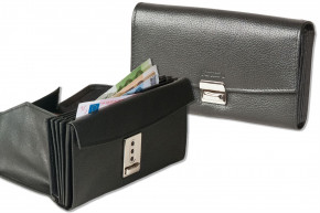 Rinaldo® Professional waiter wallet with specially reinforced coin compartment made of smooth cow leather in black