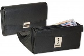 Rimbaldi® Professional waiter wallet with large coin compartment and leather bottom in natural, soft cow leather in black