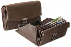 Wild Nature® Professional waiter wallet with specially reinforced coin compartment made of natural buffalo leather in dark brown / taupe