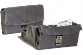 Wild Nature® Professional waiter wallet with specially reinforced coin compartment made of natural buffalo leather in anthracite