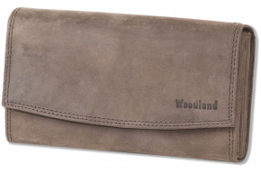 Woodland® Profi Kellnerbörse mit speziell verstärktes Hartgeldfach aus naturbelassenem, weichem Büffelleder in Dunkelbraun/Taupe