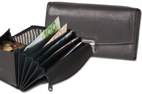 Platino - Professional waiter wallet with specially reinforced coin case made of natural, soft cow leather in black