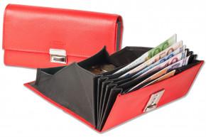 Rinaldo® Preiswerte Kellnerbörse mit verstärktem Boden im großem Hartgeldfach aus glattem Rindsleder in Rot/Innen Schwarz