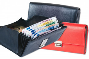 Rinaldo® - Cheap waiter wallet with reinforced bottom in large coin compartment made of smooth cow leather