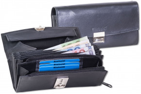 Rimbaldi® - Professional waiter wallet with extra reinforced coin compartment made of soft, natural cow leather in black