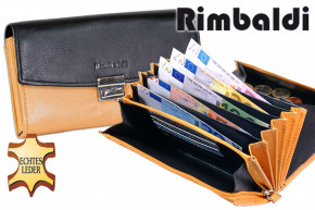 Rimbaldi®- Professional waiter wallet with extra-reinforced large coin compartment made of soft, natural cow leather in black / tan combination