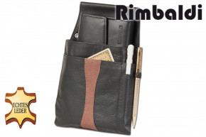 Rimbaldi® - Design waiter wallet and holster made of soft, natural cow leather in black / brown