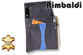 Rimbaldi® Design Kellnerbörse komplett mit Holster aus weichem, naturbelassenem Rindsleder in Schwarz / Blau kombination