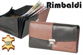 Rimbaldi® Design Kellnerbörse komplett mit Holster aus weichem, naturbelassenem Rindsleder in Schwarz/Braun
