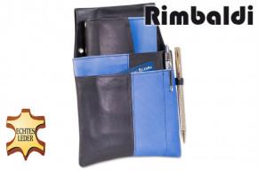 Rimbaldi® Design Kellnerbörse komplett mit Holster aus weichem, naturbelassenem Rindsleder in Schwarz/Royalblau