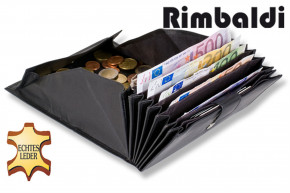 Rimbaldi® Kellnerbörse mit besonders vielen Fächern, geeignet für mehrere Währungen aus weichem, naturbelassenem Rindsleder in Schwarz