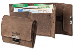 Woodland® Originelle Mini-Taxibörse aus naturbelassenem Büffelleder in Dunkelbraun/Taupe