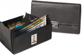 Rimbaldi® Professional waiter wallet with extra reinforced coin compartment made of soft, natural cow leather in black