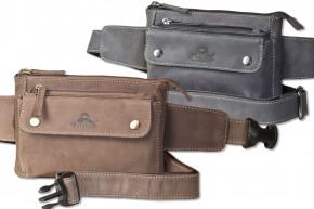 Flache Bauchtasche mit Vortasche für ein großes Smartphone aus naturbelassenem Büffelleder von Woodland®