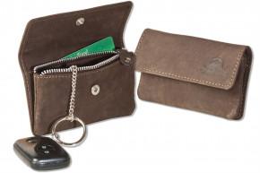 Woodland® Auto-Schlüsseltasche aus naturbelassenem Büffelleder in Dunkelbraun/Taupe