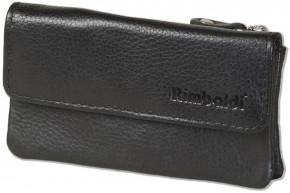 Rimbaldi® Doppel-Schlüsseltasche für Autoschlüssel und Hausschlüssel aus hochwertigem Rind-Nappaleder in Schwarz