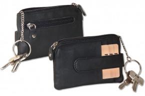 Rinaldo® Schlüsseltasche mit 3 Kreditkartenfächern und Münzfach aus Rind-Nappaleder in Schwarz