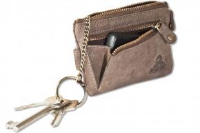 Woodland® Schlüsseltasche mit Kreditkartenfächern und kleinem Geldfach aus weichem, naturbelassenem Büffelleder in Dunkelbraun/Taupe
