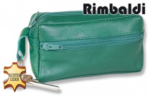Rinaldo® Large key pocket with extra compartment made of soft, untreated cow leather in green