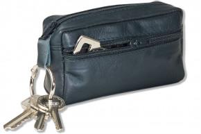 Rimbaldi® Große Schlüsseltasche mit Extrafach aus weichem, naturbelassenem Rindsleder in Anthrazit