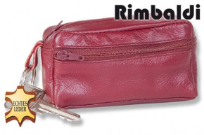 Rimbaldi® - Large key pocket with extra compartment made of soft, untreated cow leather in cherry
