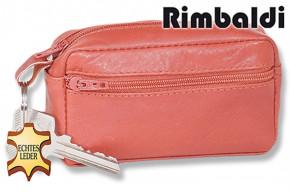 Rimbaldi®  Große Schlüsseltasche mit Extrafach aus weichem, naturbelassenem Rindsleder in Cognac