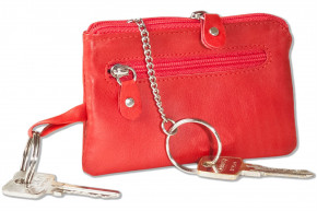 Rinaldo® Leather key case with key chain, ring and an additional outer ring made of soft, untreated cow leather in red