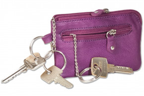 Rinaldo® Leder-Schlüsseltasche mit Schlüsselkette und Ring und zusätzlichem Außenring aus weichem, naturbelassenem Rindsleder in Lila
