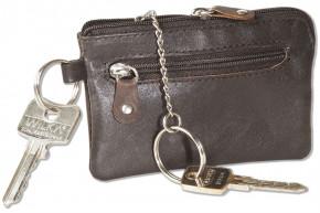 Rinaldo® Leder-Schlüsseltasche mit Schlüsselkette und Ring und zusätzlichem Außenring aus weichem, naturbelassenem Rindsleder in Dunkelbraun