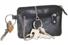 Rinaldo®- Leather key case with key chain, ring and an additional outer ring made of soft, untreated cow leather in black