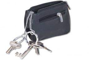 Rimbaldi® Schlüsseltasche in rechteckiger Form mit Doppel-Schlüsselring aus naturbelassenem Rindsleder in Schwarz