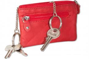 Rinaldo® Leder-Schlüsseltasche mit 2 Schlüsselketten und Extratasche aus Rind-Nappaleder in Rot