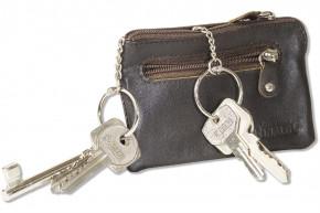 Rinaldo® Leder-Schlüsseltasche mit 2 Schlüsselketten und Extratasche aus Rind-Nappaleder in Dunkelbraun