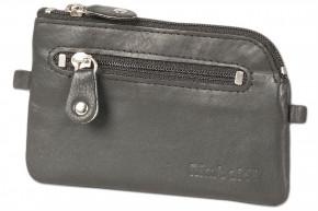 Rinaldo® Leder-Schlüsseltasche mit 2 Schlüsselketten und Extratasche aus Rind-Nappaleder in Schwarz