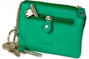 Rimbaldi® Leder-Schlüsseltasche mit 2 Schlüsselketten und Ring aus weichem, naturbelassenem Rindsleder in Jade-Grün