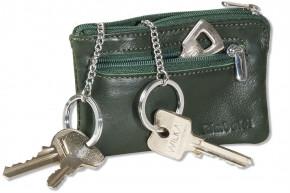 Rimbaldi® Leder-Schlüsseltasche mit 2 Schlüsselketten und Ring aus weichem, naturbelassenem Rindsleder in Natur