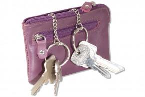 Rimbaldi® Leder-Schlüsseltasche mit 2 Schlüsselketten und Ring aus weichem, naturbelassenem Rindsleder in Aubergine