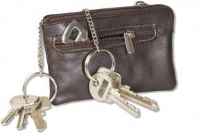 Rimbaldi®  Leder-Schlüsseltasche mit 2 Schlüsselketten und Ring aus weichem, naturbelassenem Rindsleder in Dunkelbraun