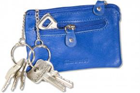 Rimbaldi®  Leder-Schlüsseltasche mit 2 Schlüsselketten und Ring aus weichem, naturbelassenem Rindsleder in Blau