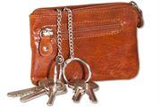Rimbaldi® Schlüsseltasche mit 2 Schlüsselketten mit Ring und großem Extrafach, Rindsleder in Cognac/Vintage