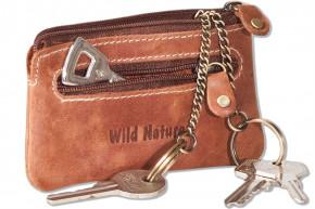 Wild Nature® Leder-Schlüsseltasche mit 2 Schlüsselketten aus weichem, naturbelassenem Büffelleder in Cognac/Vimtage-Look