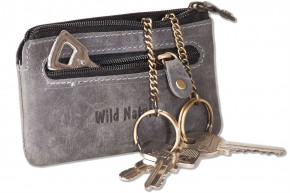Wild Nature® Leather key purse with 2 key chains made of soft, natural buffalo leather in brown