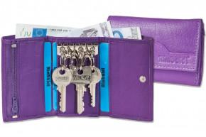 Rimbaldi® Schlüsseltasche mit 6 Schlüsselhaken und Geldbörse aus naturbelassenem Rindsleder in Lila